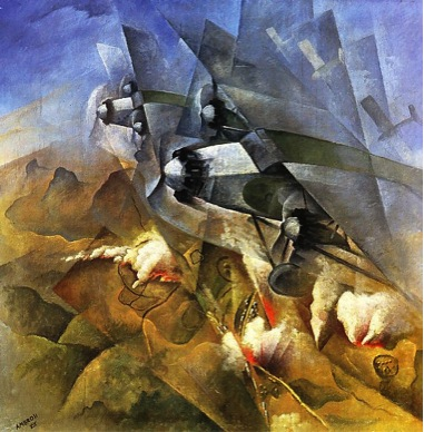 Futurist Painting Car Race Triptych