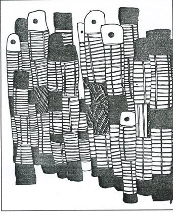 Djon Mundine, Drawing for 200 Burial Poles, c.1987. (Courtesy of the artist.)